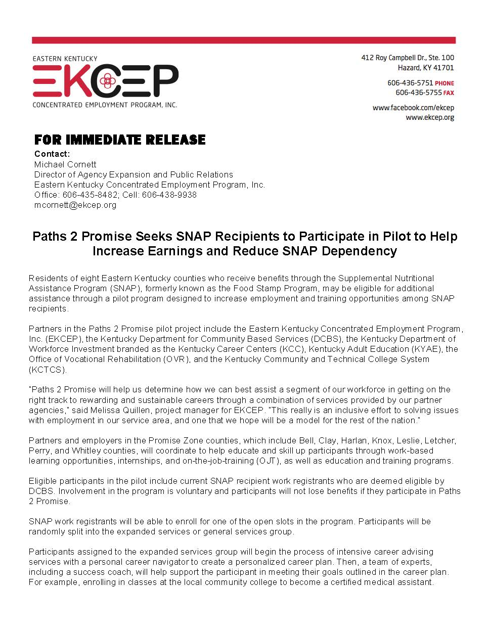Paths 2 Promise Press Release Page 1